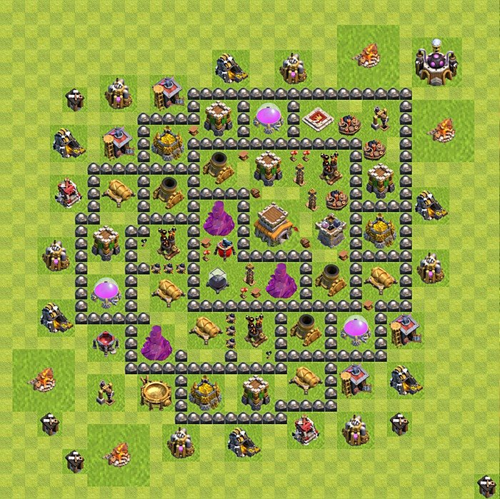 Base plan for trophies collection in TH 8, variant 122