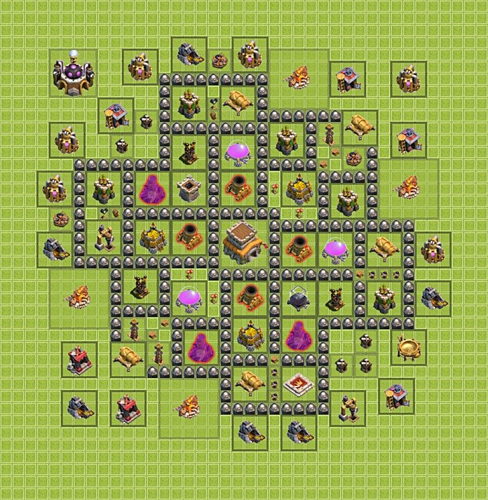 defense) base plan (layout / design) TH 8 - Clash of Clans - Town Hall
