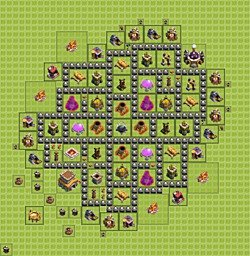 Base plan (layout), Town Hall Level 8 for farming (variant 5)