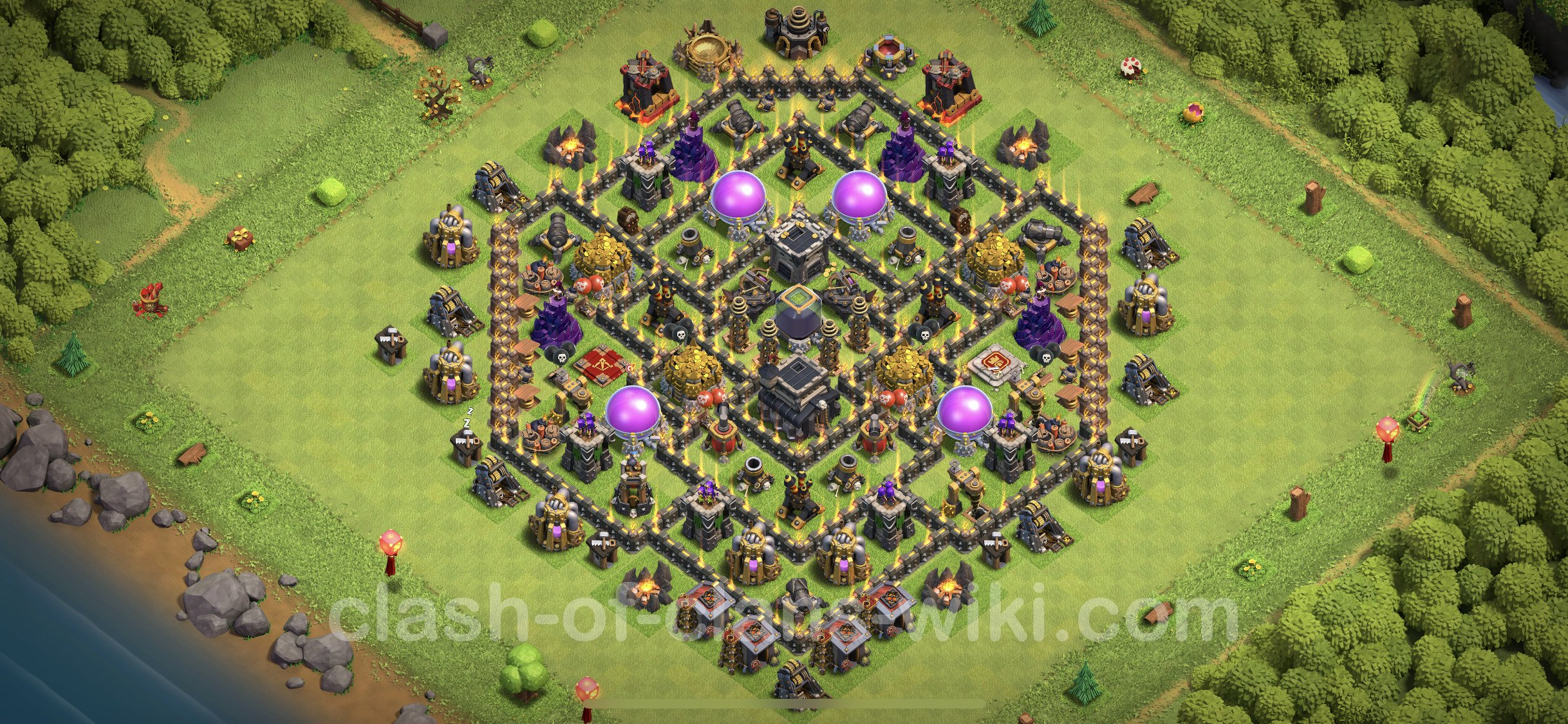 Best Anti 2 Stars Base TH9 with Link - Town Hall Level 9 Base Copy - (#122)