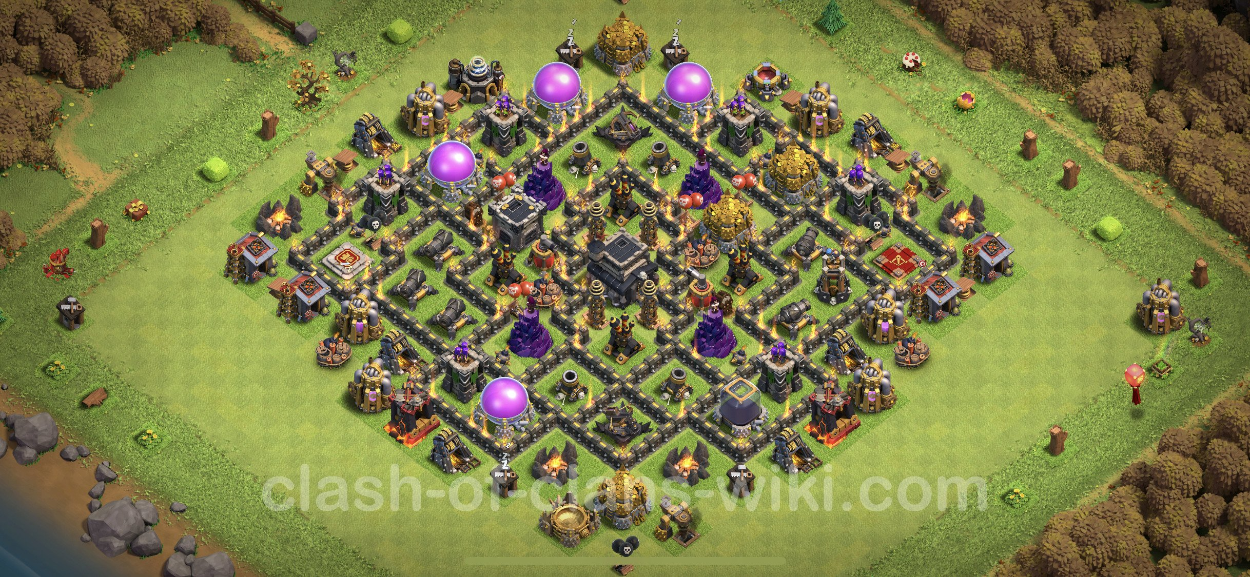 Best Base TH9 with Link Anti Everything - Town Hall Level 9 Base Copy -  (#371)