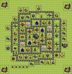 Best trophy (defense) base layouts for Clash of Clans - TH 9