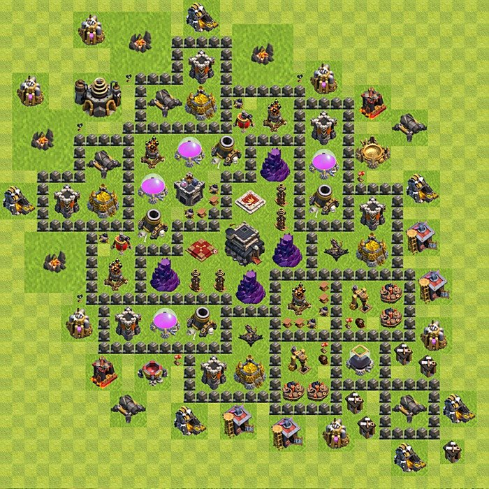 Base plan for trophies collection in TH 9, variant 102