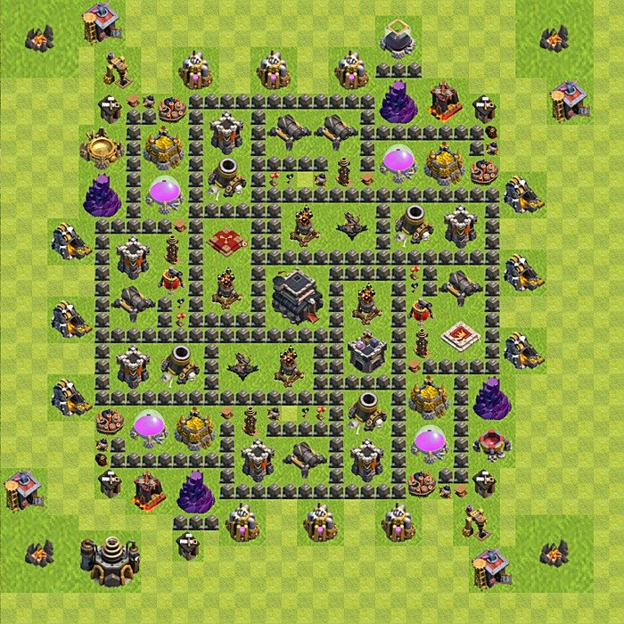 Base plan for trophies collection in TH 9, variant 103