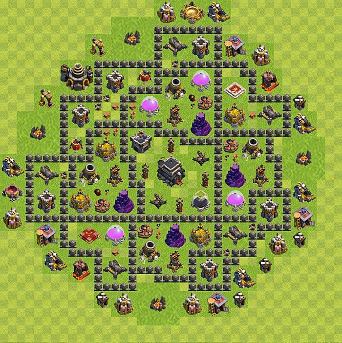 Base plan for trophies collection in TH 9, variant 104