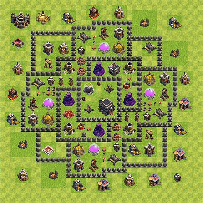 Base plan for trophies collection in TH 9, variant 105