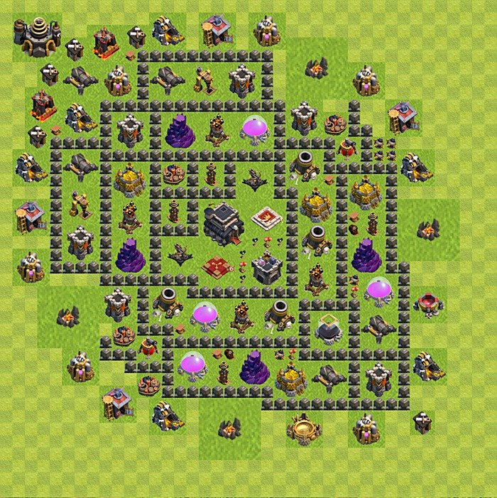Base plan for trophies collection in TH 9, variant 106