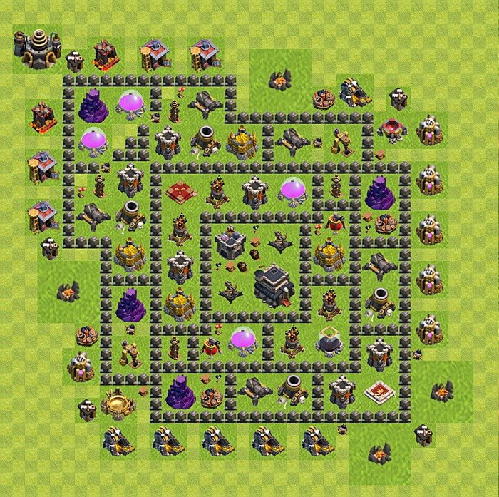 Base plan for trophies collection in TH 9, variant 108