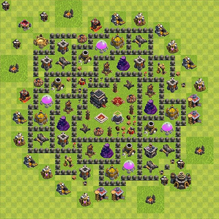 Base plan for trophies collection in TH 9, variant 85