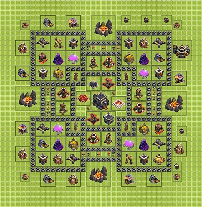 Trophy defense base plan layout design th 9 clash of clans
