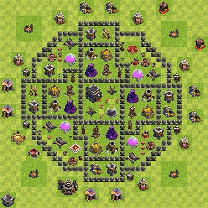 Clash of clans level 9 town hall defense for trophies best bases